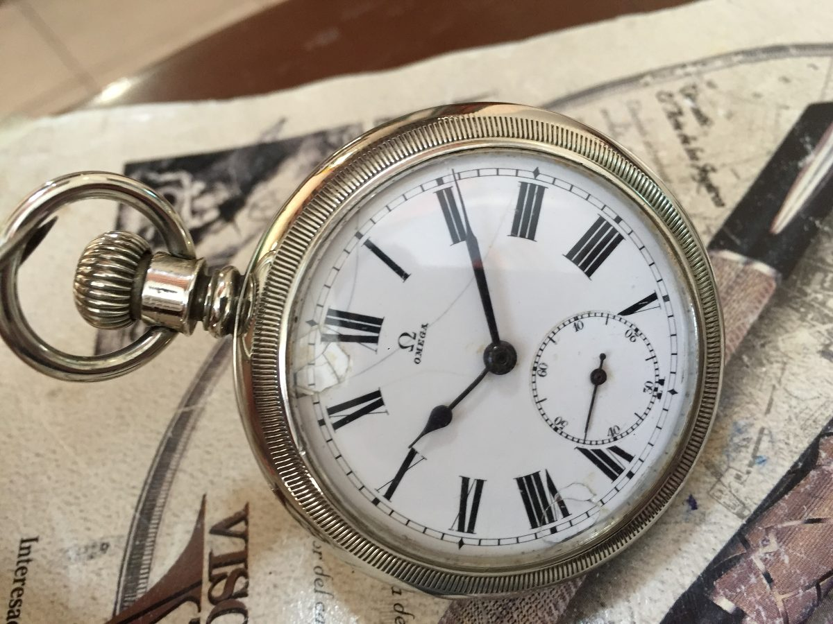 Reloj De Bolsillo Omega Mollejón Jumbo Antiguo De Cuerda - $ 3,800.00