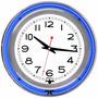 Reloj Pared Neon 14 Pulgadas Trademark Gameroom Blue Chrome