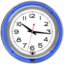 Reloj Pared Neon 14 Pulgadas Trademark Gameroom Blue Chrome