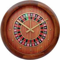 Reloj De Pared Decorativo Tipo Ruleta Casino Madera Oferta !