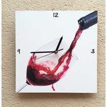 Reloj De Pared Modelo Vino Tinto