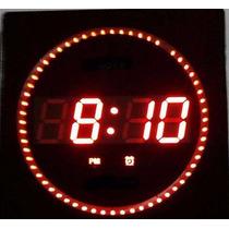 Reloj Led Electronico De Pared Hora Tempertatura Moderno