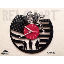 Original Reloj De Pared En Disco De Vinil - Capitan America