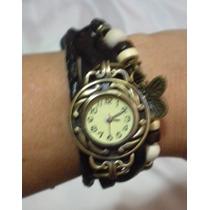 Reloj Pulsera Vintage, Con Extensible De Piel En Negro.