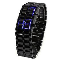 Reloj Samurai Led Binario Unisex Pulso Metálico Color Negro