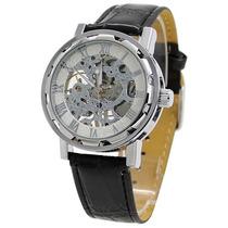 Reloj Caballero Cuerda Skeleton Acero Blanco/plata