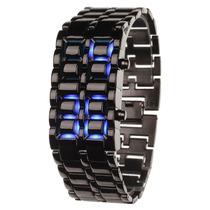 Relógio De Pulso Com 8 Led Azul De Inox Preto