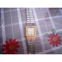 Elegante Reloj Caballero Seiko Vintage Acero Y Oro Plano