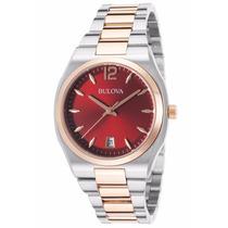 Reloj Bulova Diamond Gallery Mujer Dorado Rojo 98m119