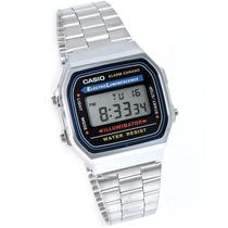 Reloj Casio A168 Plateado Iluminator Led Coronometro