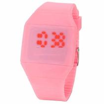 Reloj De Silicon Rosa Para Dama Y Caballero Display Led