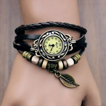 Reloj Dama Brazalete Hoja Negro Regalo Mama Toda Ocasiòn