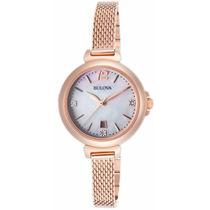 Reloj Bulova Diamond Gal Tono Oro Rosado Mujer 97p108
