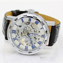 Reloj Caballero Cuerda Skeleton Transparente Acero Azul-blan