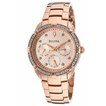 Reloj Bulova Diamond Collection Oro Rosado Mujer 98r178