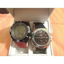 Reloj Polo Deportivo Rojo Y Negro Casual 100% Original