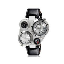 Reloj Oulm Aviador Militar Dual Display Termómetro Y Brujula