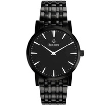 Reloj Bulova Acero Inoxidable Negro Slim 98a122 Garantia