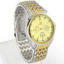 Reloj Análogo Cuarzo, De Vestir, Acero Inox. Caratula Oro,