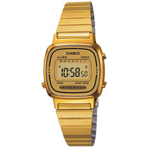 Reloj Casio La670 Vintage Dama Mujer Dorado Luz Acero Retro