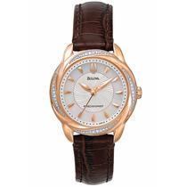 Reloj Bulova Precisionist Brightwater Piel Café Mujer 98r152