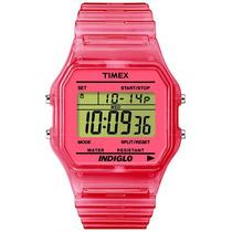 Reloj Timex Retro T2n805 Rosa Cronometro Alarma Luz Indiglo
