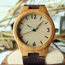 Reloj De Madera Bamboo Y Piel Excelente De Calidad