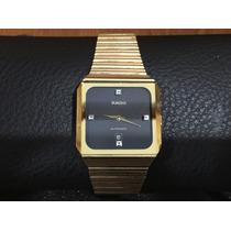Fino Reloj Rado Depose Con 4 Joyas Caratula Negra De Oro