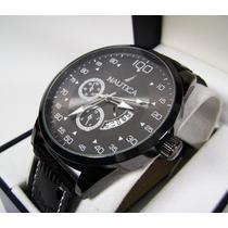 N A U T I C A . Reloj Con Calendario Acero/piel Nuevo Ngn2