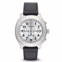 Reloj Emporio Armani Para Hombre Negro Plata Piel Nuevo