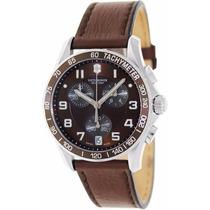 Reloj Victorinox Classic A Inoxidable Piel Café Crono 241498