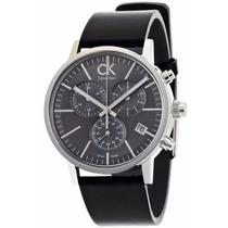 Reloj Calvin Klein Post Minimal Crono Piel Negra K7627107