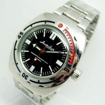 Reloj Vostok Amphibian Negro Ruso Militar Buzo Acero