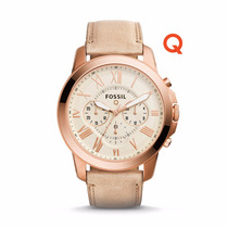 Q Grant Chronograph Sand Leather Watch- Fossil