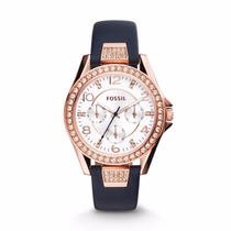 Riley Multifunction Blue Leather Watch- Fossil