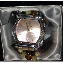 Reloj Cuero Fashion, Rosa Y Plata Moderno. Envio S/costo