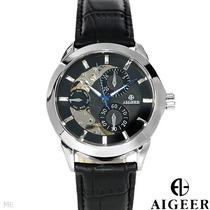 Reloj Algeer Automático, Hombre, Acero Inoxidable Piel 3 Flr