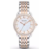 Reloj Bulova Diamond Case Doble Tono Acero Mujer 98r144