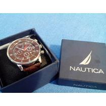 Reloj Para Hombre Nautica, Correa De Piel Cafe De Moda