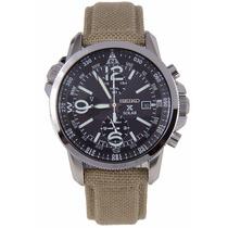 Reloj Seiko Prospex Solar Military Alarm Tela Verde Ssc293p1