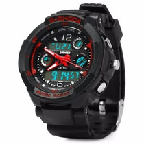 Reloj Skmei Sumergible 50 Mts Militar Mod.1060 Rojo-negro