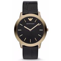 Reloj Emporio Armani Acero Color Oro Piel Negra Ar1742