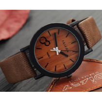 Promoción 2 Reloj Vintage Textura De Madera En Café Y Negro