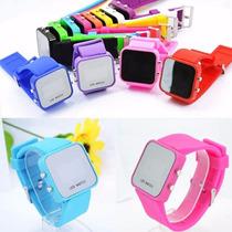 Reloj Led Digital Espejo Con Silicon Colores Varios!