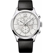 Reloj Calvin Klein Masculine Crono Piel Negra Plata K2h27120