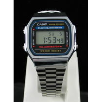 Reloj Casio A168wa Plateado Iluminator Crono Alarma Wr