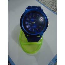 Padrisimo Reloj Azul De Cuarzo Womage C/ext De Silicon