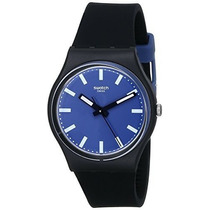 Swatch Esfera Azul Silicona Negra Mens Watch Gb281