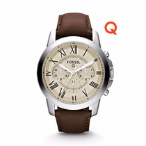 Q Grant Chronograph Dark Brown Leather Watch- Fossil