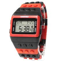 Reloj Hombre Mujer Alarma Lego Moda Con Luz Rojo 12